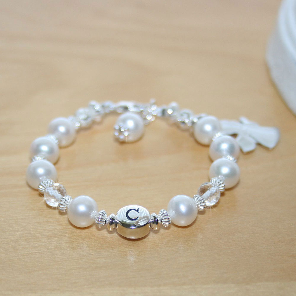 Traditions of Love™ by My First Pearls® Baby Bracelet – Grow-With-Me® designer original freshwater cultured pearl name baby bracelet – Personalize with gemstones & charms