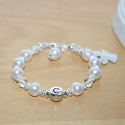 Cora's Angel - Baby / Children's Pearl Name Bracelet - Sterling Silver/