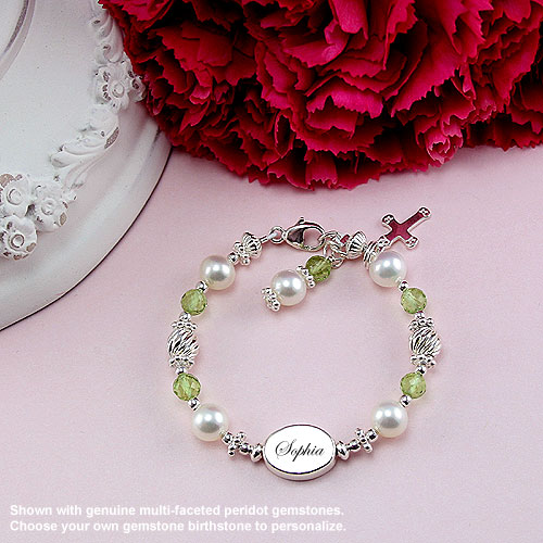 The Sophia Gemstone Collection™ by My First Pearls® Baby Bracelet – Grow-With-Me® designer original freshwater cultured pearl baby bracelet – Personalize with gemstones & charms