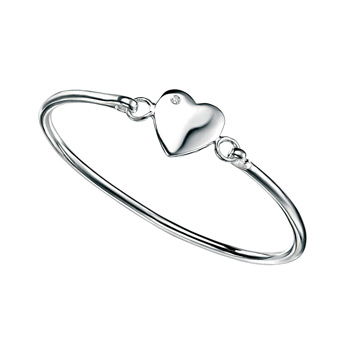 "Little Girls Engravable Diamond Heart Bangle - High Polished Sterling Silver Personalized Diamond ID Bracelet - Fits Baby, Toddler, and Girls with petite wrists up to age 8 - Size 5.25"" - BEST SELLER"