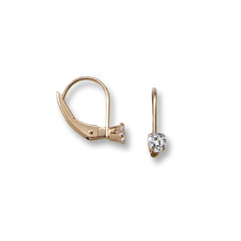 April Birthstone Diamond Synthetic (Cubic Zirconia) C.Z. Leverback Earrings for Girls - 14K Yellow Gold Leverback Earrings for Girls Age 6 years and up - BEST SELLER