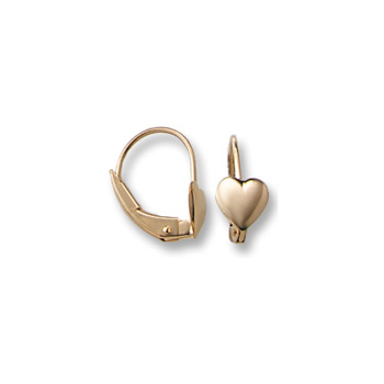 Gold Heart Leverback Earrings for Girls - 14K Yellow Gold Leverback Earrings for Girls Age 6 years and up - BEST SELLER