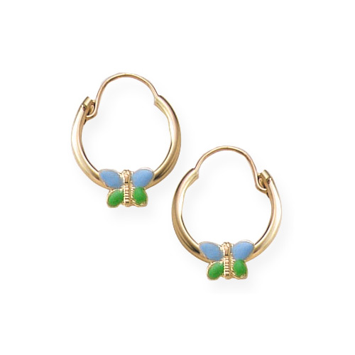 Gold Hoop Blue And Green Enameled Erfly Earrings For S 14k Yellow 6 12 Years Item 2069