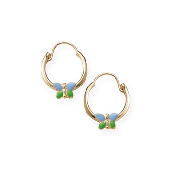 Gold Hoop Blue and Green Enameled Butterfly Earrings for Girls - 14K Yellow Gold Hoop Earrings for Girls - (6 - 12 years)