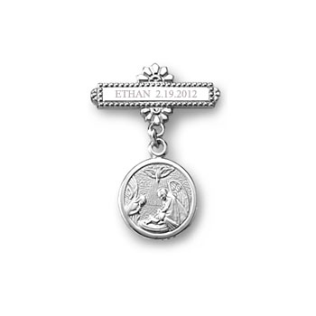 Guardian Angel Baptismal Pin -  Sterling Silver Rhodium - Add a birthstone to personalize - BEST SELLER