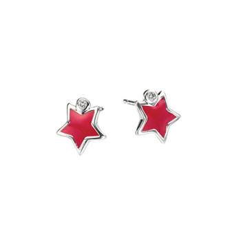 Adorable Red Star Diamond Earrings for Girls - High Polished Sterling Silver Enameled Star with Genuine Diamond - Push-Back Posts