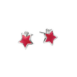 Adorable Red Star Diamond Earrings for Girls - High Polished Sterling Silver Enameled Star with Genuine Diamond - Push-Back Posts/