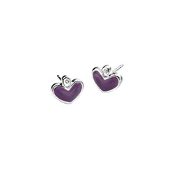 Adorable Purple Heart Diamond Earrings for Girls - High Polished Sterling Silver Enameled Heart with Genuine Diamond - Push-Back Posts/