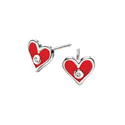 Adorable Tiny Red Heart Diamond Earrings for Girls - High Polished Sterling Silver Enameled Heart with Genuine Diamond - Push-Back Posts/