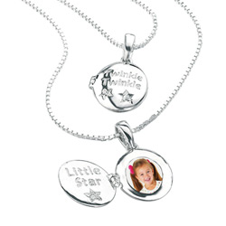 Twinkle, Twinkle, Little Star Adorable Girls Diamond Locket Necklace - Sterling Silver Locket features one Genuine Diamond - Includes 14