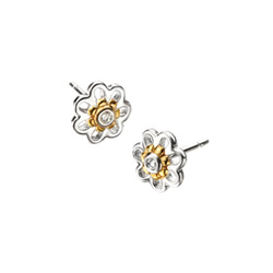 Adorable Tiny Daisy Diamond Earrings For S High Polished Sterling Silver And Gold Plated With