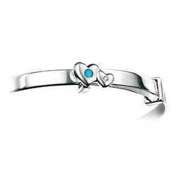 Girls Heart Birthstone Bracelet - High Polished Sterling Silver December Turquoise Birthstone Bracelet - Baby, Toddler /