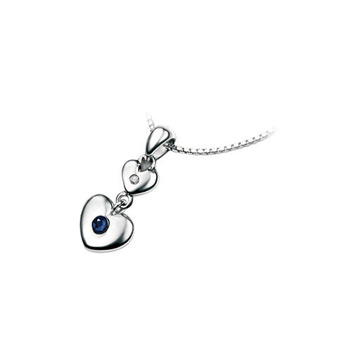 "Girls Heart Birthstone Necklace - High Polished Sterling Silver September Blue Sapphire Birthstone Necklace - Includes 14"" chain"