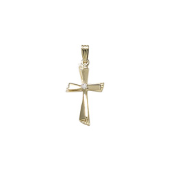 Heirloom Diamond Cross - 14K Yellow Gold Genuine Diamond Cross - 14K Yellow Gold 18