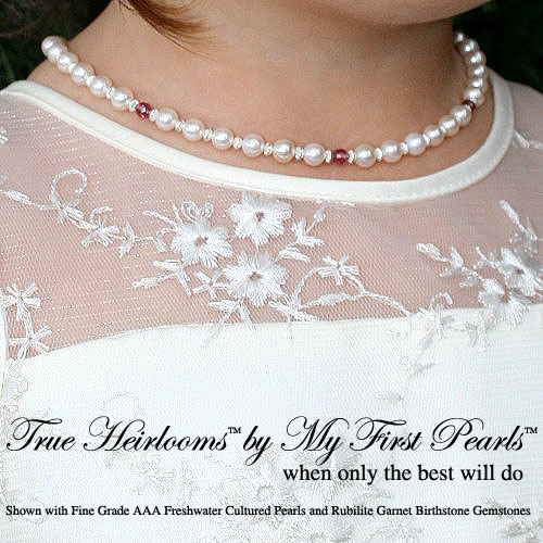 True Heirlooms™ in white by My First Pearls® – Grow-With-Me® designer original engravable white freshwater cultured pearl necklace – Personalize with gemstones & charms - Sterling Silver