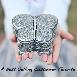Ashley - Butterfly Pewter Jewelry Box - BEST SELLER/