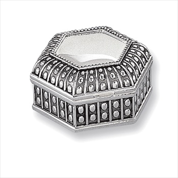 Morgan - Engravable Antiqued Hexagon Silver-Plated Jewelry Box