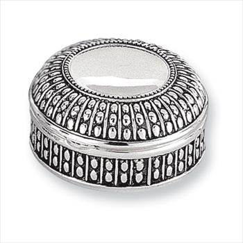 Faith - Engravable Antiqued Round Silver-Plated Jewelry Box