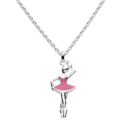 Little Girls Pink Ballerina Necklace - Sterling Silver Rhodium Girls Ballet Necklace - Includes 14-inch chain/