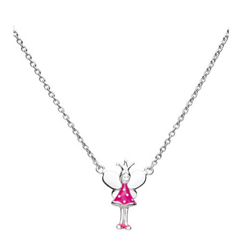 Little Girls Fairy Necklace - Sterling Silver Rhodium Girls Fairy Princess Necklace - Includes 14-inch chain