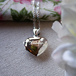 A Keepsake Heart Filled with Love Just for You - Sterling Silver Engravable Heart Photo Locket - Engravable on front and back - with exclusive Sterling Silver Rhodium Grow-With-Me® Chain /