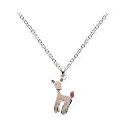 Little Girls Holiday Reindeer Necklace - Sterling Silver Rhodium Girls Reindeer Perfect Christmas Gift Necklace - 14