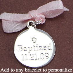 Lovely Personalized Keepsakes to Treasure™ - Small Round Sterling Silver Rembrandt Charm - Engravable on front and back - Add to a bracelet or necklace/