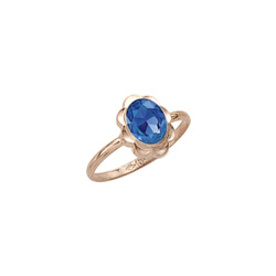Girl's Birthstone Rings - 10K Yellow Gold Girls Synthetic Blue Sapphire Birthstone Ring - Size 5 1/2 - Perfect for Grade School Girls, Tweens, or Teens/