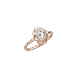 Girl's Birthstone Rings - 10K Yellow Gold Girls Synthetic White Topaz Birthstone Ring - Size 5 1/2 - Perfect for Grade School Girls, Tweens, or Teens - BEST SELLER - LAST ONE/