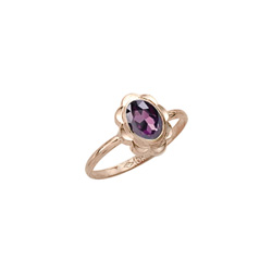 Girl's Birthstone Rings - 10K Yellow Gold Girls Synthetic Amethyst Birthstone Ring - Size 5 1/2 - Perfect for Grade School Girls, Tweens, or Teens/