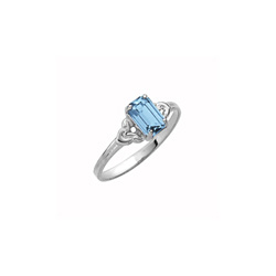 Kid's Birthstone Rings for Girls - Sterling Silver Rhodium Girls Synthetic Aquamarine March Birthstone Ring - Size 4 - Perfect for Grade School Girls, Tweens, or Teens/