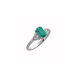 Kid's Birthstone Rings for Girls - Sterling Silver Rhodium Girls Synthetic Emerald May Birthstone Ring - Size 4 1/2 - Perfect for Grade School Girls, Tweens, or Teens/