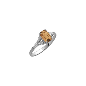 Kid's Birthstone Rings for Girls - Sterling Silver Rhodium Girls Synthetic Citrine November Birthstone Ring - Size 4 - Perfect for Grade School Girls, Tweens, or Teens - BEST SELLER