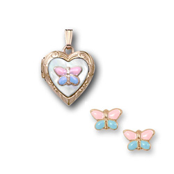 Pink and Blue Butterfly Locket Necklace and Earring Set - 14K Yellow Gold - 15