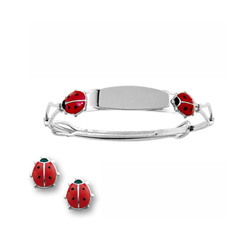 Red Ladybug Earring and Engravable Bracelet Set - Sterling Silver Rhodium - 2 Item Set - Save $12 with this set - BEST SELLER/