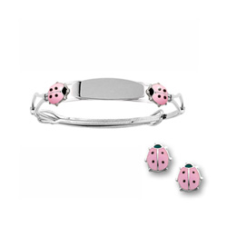 Pink Ladybug Earring and Engravable Bracelet Set - Sterling Silver Rhodium - 2 Item Set - Save $9 with this set/