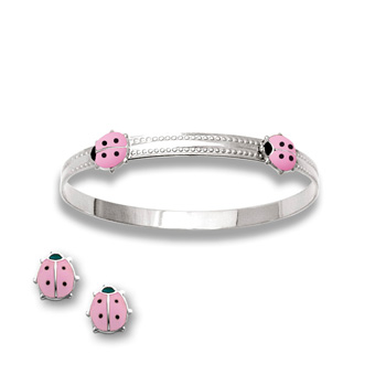 Pink Ladybug Earring and Bracelet Set - Sterling Silver Rhodium - 2 Item Set - Save $5 with this set
