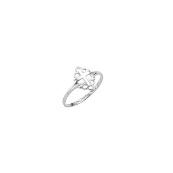 In Faith and Love - Sterling Silver Rhodium Little Girls Cross Ring - Size 4 Child Ring - BEST SELLER