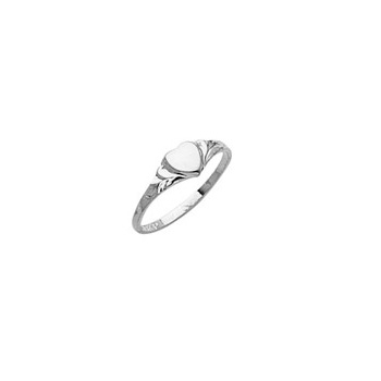 Engravable Baby Heart Signet Ring - Sterling Silver Rhodium Signet Ring for Baby - Size 2