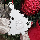 Silver Christmas Tree Personalized Ornament - Engravable on front and back - BEST SELLER