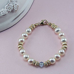 Amelia Claire™ by My First Pearls® Baby Bracelet – 14K yellow gold – Grow-With-Me® designer original freshwater cultured pearl baby bracelet – Personalize with gemstones & charms /