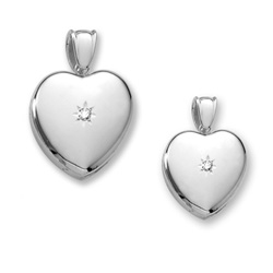 Mother Daughter Heart Photo Lockets - Sterling Silver Rhodium Handmade Premium Heirloom Engravable Heart Lockets to Love - .04 ct. tw. Center Diamond - Chains Included - Save $25 with this set/