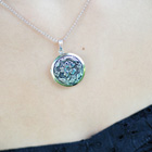 Heirloom Flower Photo Locket for Girls - Sterling Silver Rhodium - Engravable on back - Includes a 14