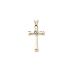 Best Confirmation Gifts - Girls Heirloom Heart Cross Communion / Confirmation Necklace - 2-Point Genuine Diamond - 14K Yellow Gold  - 14K Yellow Gold 18