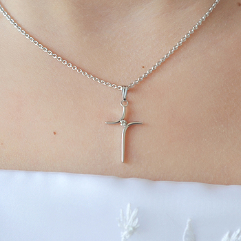 "Girls Heirloom Diamond Cross Communion Necklace - 2-Point Genuine Diamond - Sterling Silver Rhodium  - Includes a 14"" 1.5mm Grow-With-Me® chain - Adjustable at 14"", 13"", 12"""