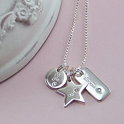 A Personalized Treasure™ - 92.5 Engravable Multi-Pendant Necklace with One-Point Diamonds