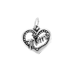 Mom Heart Charm - Sterling Silver/