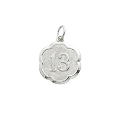 Age 13 Teen Years - Thirteenth Birthday Keepsake Charm - Sterling Silver Rhodium Small Round Rembrandt Charm – Engravable on back - Add to a bracelet or necklace/
