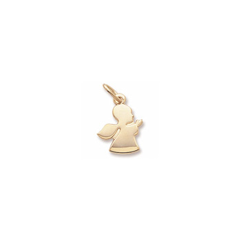 Rembrandt 14K Yellow Gold Angel in Prayer Charm (Small) – Engravable on back - Add to a bracelet or necklace