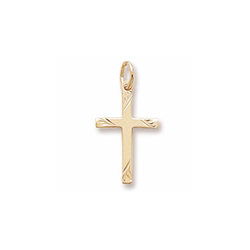 Rembrandt 14K Yellow Gold Diamond-Cut Medium Cross Charm – Add to a bracelet or necklace/